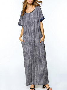Loose Round Neck Pocket Printed Maxi Dress