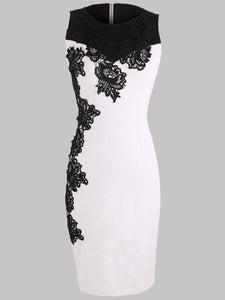 Black White Decorative Lace Color Block Bodycon Dress