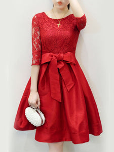 Round Neck  Bowknot  Hollow Out Plain Skater Dress