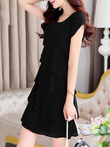 Summer Solid Layered Chiffon Shift Dress
