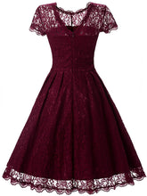 Exquisite Round Neck Lace Hollow Out Plain Midi Skater Dress