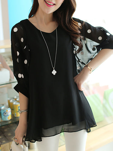 V-Neck  Hollow Out Polka Dot Chiffon Short Sleeve T-Shirt