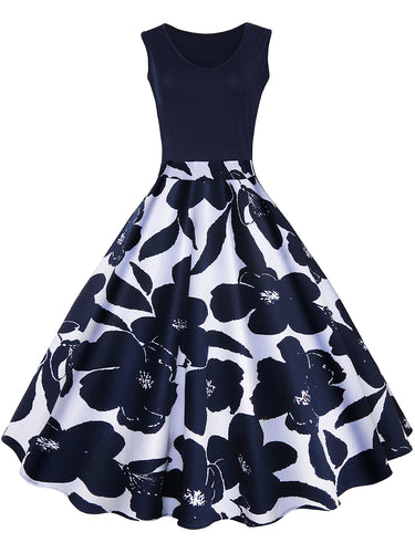 Summer Vintage V-Neck Floral Printed Skater Dress
