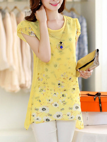 Floral Petal Sleeve Decorative Necklace Short Sleeve T-Shirt
