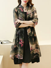 Casual Floral Printed Chiffon Two-Piece Shift Dress