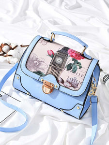 Floral Printed Patchwork Crossbody Bag