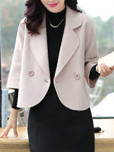 Loose Lapel Plain Woolen Coat