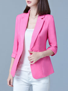 Chic Notch Lapel Single Button Plain Blazer