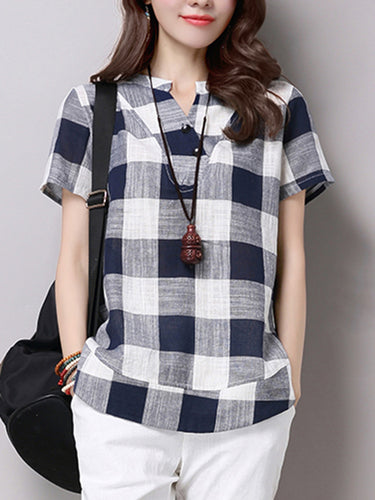 Split Neck Plaid Short Sleeve T-Shirt