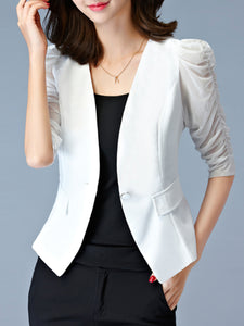 Single Button Hollow Out Plain Puff Sleeve Blazer
