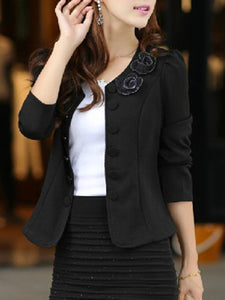 Collarless Embossed Floral Blazer