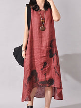 High-Low Round Neck Printed Maxi Dress