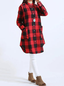 Plaid Band Collar Patch Pocket Curved Hem Shift Dress