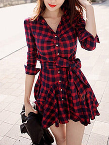 Plaid Bowknot Flared Shirt Dress
