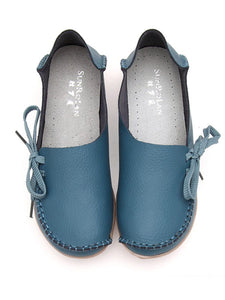 Casual Solid Lace-Up Bowknot Soft Sole Loafers