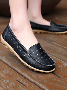 Hollow Out  Flat  Faux Leather  Round Toe  Basic Flat & Loafers