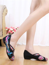 Colorful Embroidery Hidden Heel V Pumps