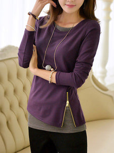 Round Neck  Zips  Color Block Long Sleeve T-Shirt