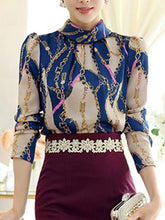Band Collar Printed Long Sleeve Blouse