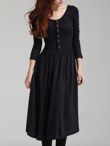 Round Neck Belt Plain Knitted Maxi Dress