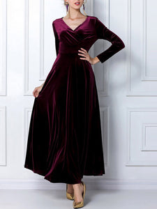 Vintage V-Neck Empire Velvet Plain Maxi Dress