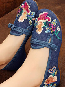 Embroidery  Low Heeled  Blend  Round Toe  Casual Flat & Loafers