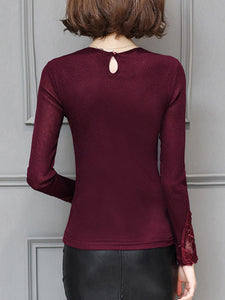 Crew Neck  Hollow Out Long Sleeve T-Shirt