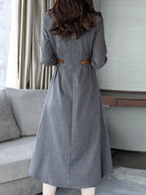 Plaid Band Collar Pocket Maxi Dress