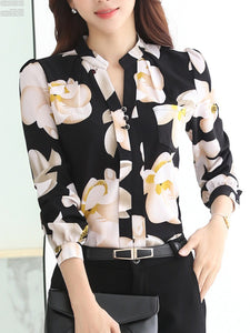 Split Neck Floral Printed Long Sleeve T-Shirt