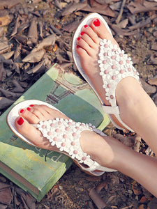 Floral  Flat  Faux Leather  Beach Sandals