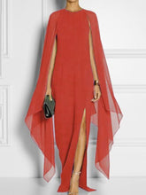 Cape Sleeve High Slit Plain Chiffon Maxi Dress