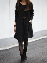 Casual Round Neck Solid Patch Pocket Shift Dress