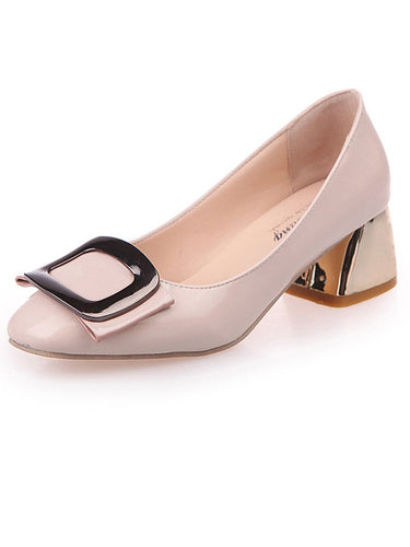 Plain  Chunky  Mid Heeled  Faux Leather  Round Toe  Casual Pumps