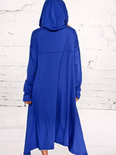 Hooded Plain High-Low Kangaroo Pocket Maxi Dress