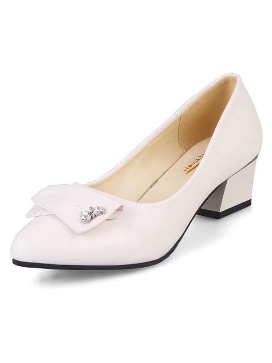 Plain  Mid Heeled  Faux Leather  Casual Pumps