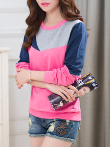 Color Block Round Neck Sweatshirt