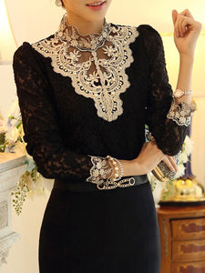 Band Collar Beading Lace Hollow Out Long Sleeve T-Shirt