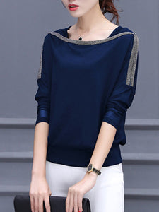 Glitter  Color Block Long Sleeve T-Shirts