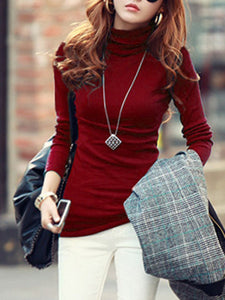 Basic Turtleneck Plain Long Sleeve T-Shirt