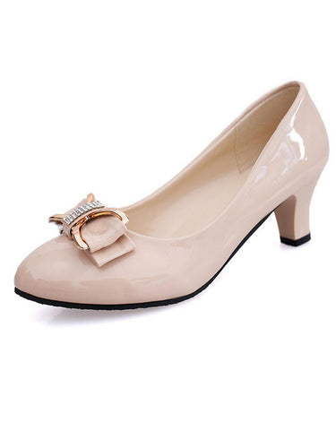 Plain  Mid Heeled  PU  Date Flat & Loafers