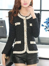 Collarless Decorative Lace Single Breasted Blazer