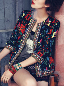 Collarless Multi-Color Printed Blazer