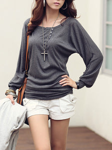 Round Neck Decorative Button Plain Long Sleeve T-Shirt