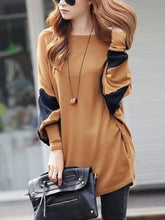 Oversized Color Block Batwing Sleeve T-Shirt