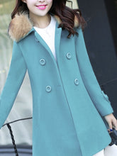 Faux Fur Collar Double Breasted Woolen Coat