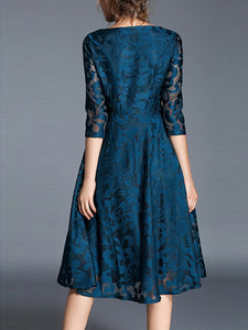 Solid Lace Hollow Out Round Neck Maxi Dress