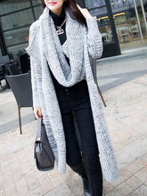 Lapel Patch Pocket Longline Coat With Scarf