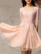 Exquisite Beading Patchwork Plain Round Neck Skater Dress