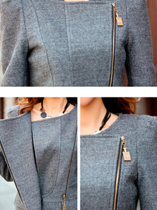 Fold-Over Collar  Flap Pocket Zips  Plain Jacket