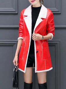Lapel Patch Pocket PU Leather Fleece Lined Trench Coat
